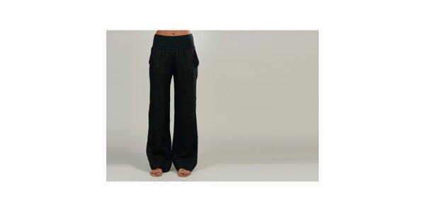Dámské černé lněné kalhoty Lin Nature