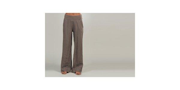 Dámské hnědé lněné kalhoty Lin Nature