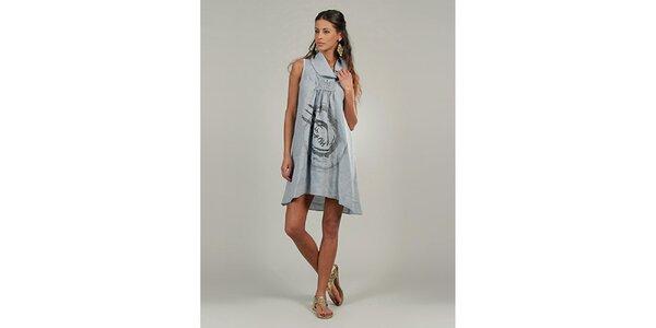 Dámské šedé lněné šaty s potiskem Lin Nature