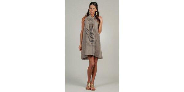Dámské šedo-béžové lněné šaty s potiskem Lin Nature
