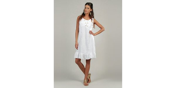 Dámské bílé lněné šaty s knoflíčky Lin Nature