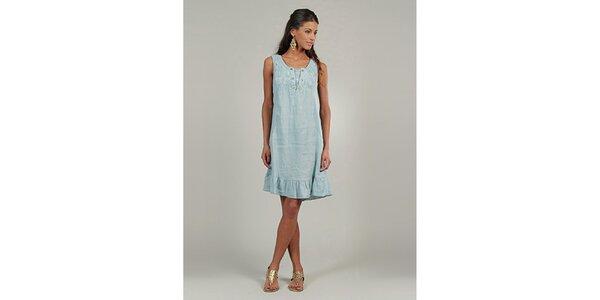 Dámské světle modré lněné šaty s knoflíčky Lin Nature