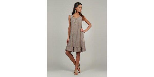 Dámské hnědo-béžové lněné šaty s knoflíčky Lin Nature