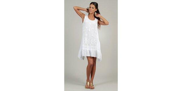Dámské bílé lněné šaty s krajkovým předním dílem Lin Nature
