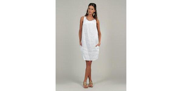 Dámské bílé lněné šaty s třpytivým výstřihem Lin Nature