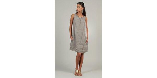 Dámské šedé lněné šaty s třpytivým výstřihem Lin Nature