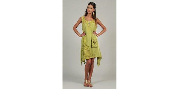 Dámské anýzové šaty s krajkovými detaily a kapsou Lin Nature