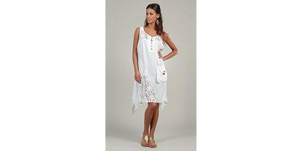 Dámské bílé šaty s krajkovými detaily a kapsou Lin Nature