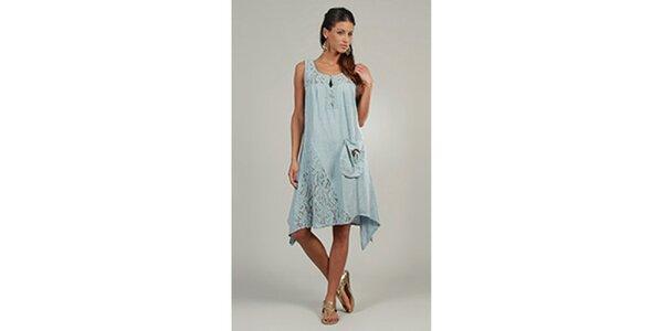 Dámské světle modré šaty s krajkovými detaily a kapsou Lin Nature
