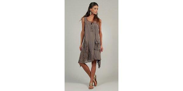 Dámské hnědé šaty s krajkovými detaily a kapsou Lin Nature