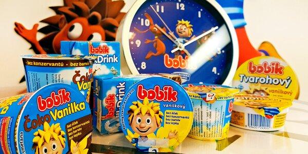 Dárkové balíčky s mléčnými výrobky Bobík a hodinami