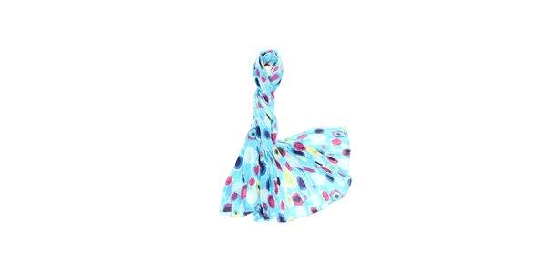 Dámský tyrkysový šátek s barevným potiskem Fraas