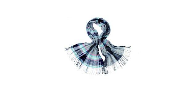Dámský šedo-modrý kostkovaný šátek Fraas