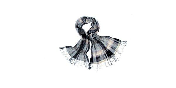 Dámský hnědo-okrový kostkovaný šátek Fraas