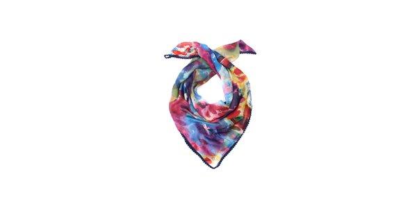 Dámský růžovo-modrý hedvábný šátek Fraas