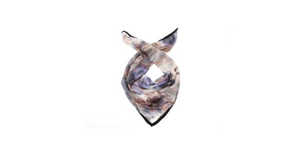 Dámský šedo-modrý hedvábný šátek Fraas
