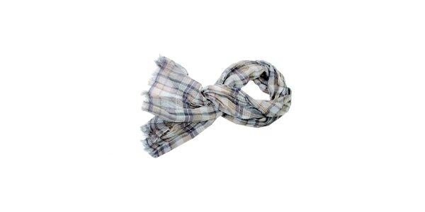 Dámský hnědo-béžový kostkovaný šátek Fraas