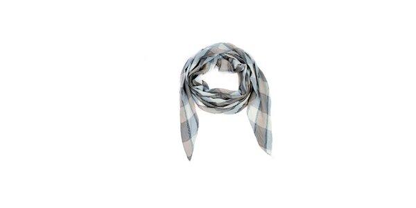 Dámský krémovo-béžový kostkovaný šátek Fraas