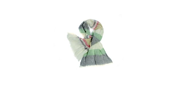 Dámský krémovo-zelený pruhovaný fáčovinový šátek Fraas