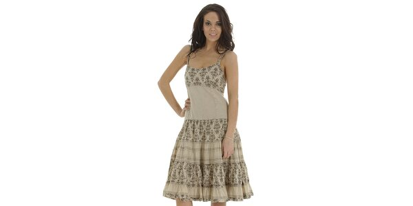 Dámské béžové šaty s volány a potiskem Peace & Love