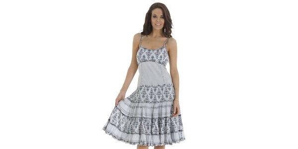 Dámské světlé šaty s volány a potiskem Peace & Love