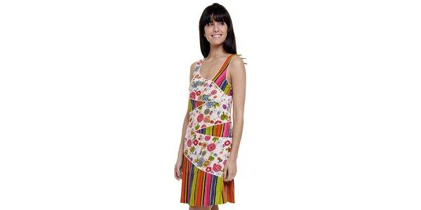 Dámské barevné pruhované šaty Peace&Love s bílou květinovou légou