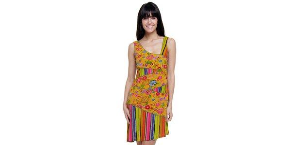 Dámské barevné pruhované šaty Peace&Love s hořčicovou květinovou légou