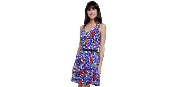 Dámské fialové šaty Peace&Love s potiskem