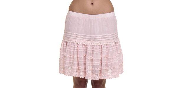 Dámská růžová krajková sukně Peace&Love