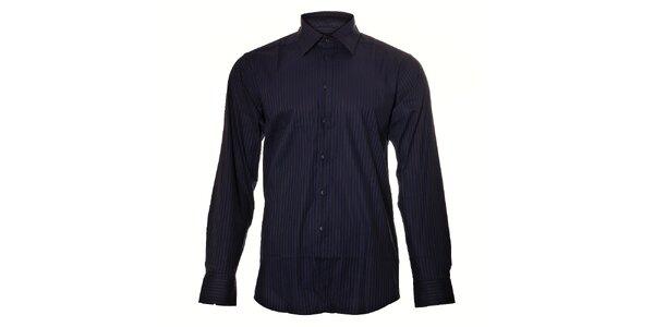 Pánská černá košile Pietro Filipi s fialovým proužkem