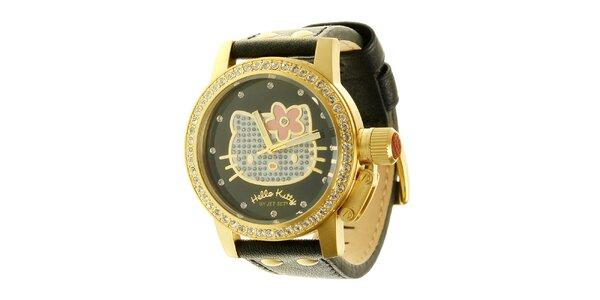 Dámské černo-zlaté náramkové hodinky se skleněnými krystaly Hello Kitty