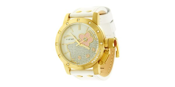 Dívčí zlato-bílé hodinky se skleněnými krystaly Hello Kitty