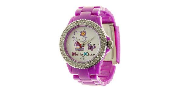 Dívčí fialové hodinky s krystaly Hello Kitty