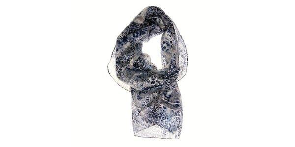 Dámský modrostříbrný hedvábný šál Pietro Filipi