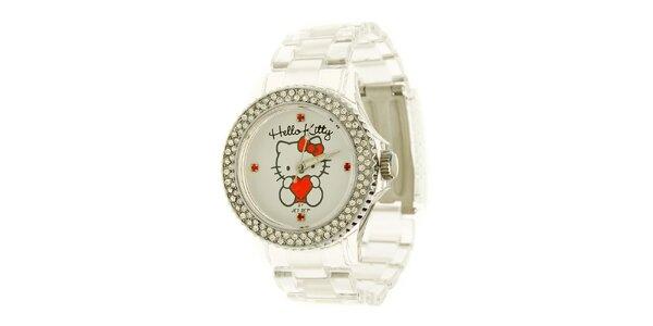 Dívčí bílé hodinky s krystaly Hello Kitty
