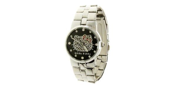 Stříbrné dívčí analogové ocelové hodinky se skleněnými krystaly a černým…