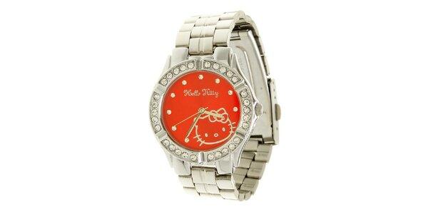 Dámské stříbrno-červené náramkové hodinky se skleněnými krystaly Helo Kitty