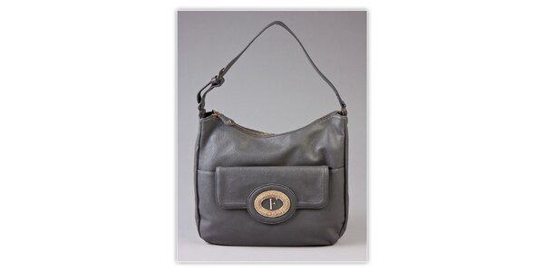 Dámská šedá kabelka s kovovým monogramem Ferré Milano