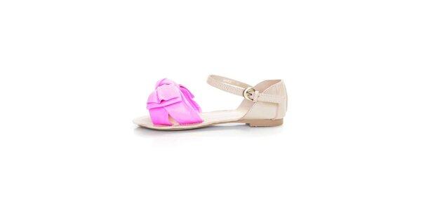 Dámské světle béžové kožené sandály Sandalo s růžovými pásky