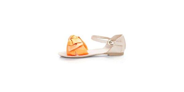 Dámské světle béžové kožené sandály Sandalo s oranžovými pásky