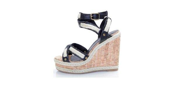 Dámské černé kožené sandály Sandalo na vysokém klínu