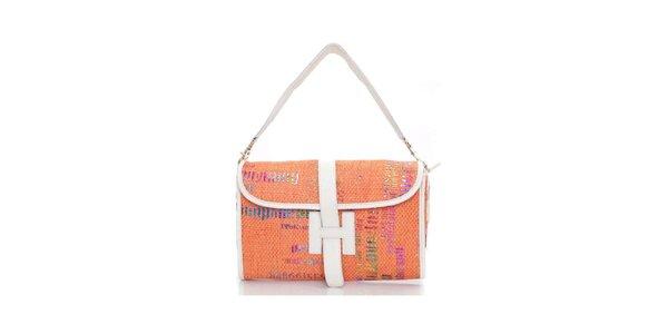 Dámská oranžová kabelka s grafickým potiskem Sandalo