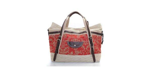 Dámská červeno-béžová kabelka s popruhy Sandalo