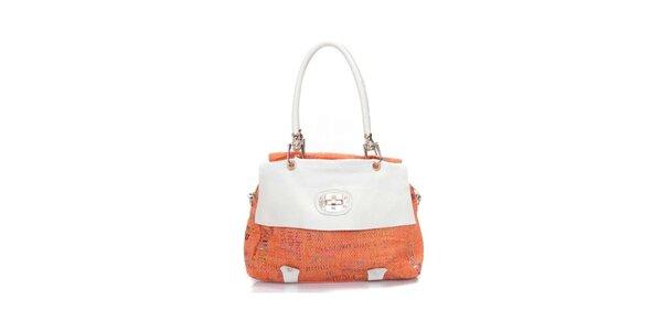 Dámská oranžovo-bílá kabelka se zámečkem Sandalo