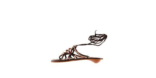 Dámské hnědé kožené sandály Sandalo s korálky