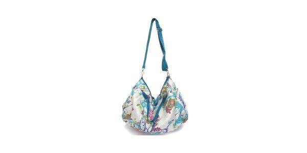 Dámská modro-bílá kabelka s květinovým potiskem Sandalo