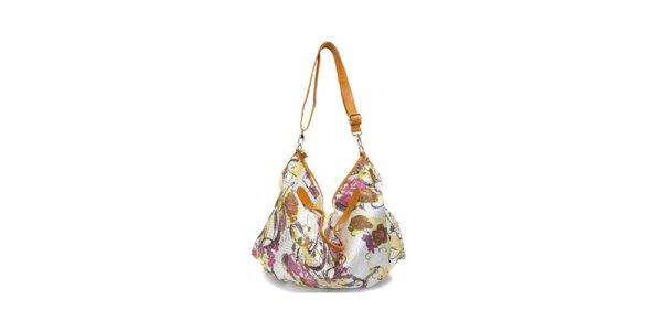Dámská hořčicovo-bílá kabelka s květinovým potiskem Sandalo