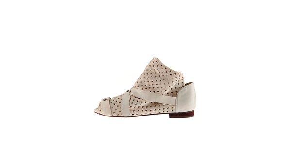 Dámské bílé kožené sandály Sandálo s perforací
