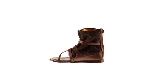 Dámské hnědé kožené sandály Sandalo