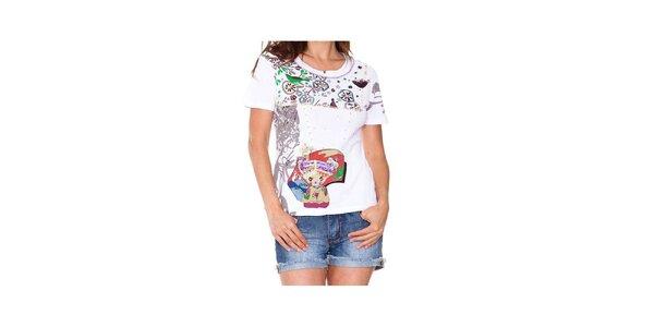 Dámské bílé tričko s potiskem holčičky Sandalo
